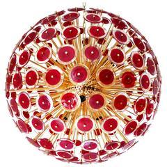 Italian Murano Red Disco Glass Sputnik Chandelier by Vistosi