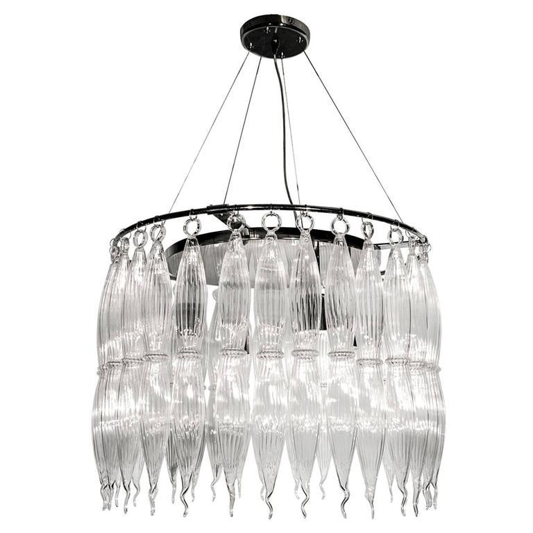 Italian Murano Clear Glass Tassels Chandelier For Sale