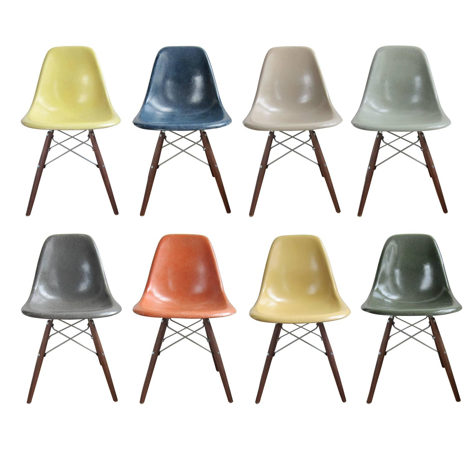 Eight Multicolored Herman Miller Eames Dining Chairs At 1stdibs