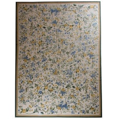 Elegant Blue Rug, Floral Rug in the style of Aubusson Rugs Carpet Flat-Weave Rug
