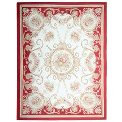 Handwoven Luxury Rug, Red Aubusson Rugs, Floral Needlepoint Carpet