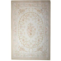 Handwoven Luxury Rug, Beige Aubusson Rugs Style, Floral Needlepoint Carpet