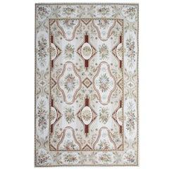 Handmade Rug, Floral Patterned Rug, Aubusson Rugs, Needlepoint Flat-Weave Rug