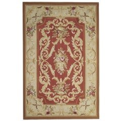 High Quality Aubusson Rugs, Hand Woven Red Carpet Needlepoint Floor Area Rug