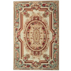 Handmade Carpet Aubusson Rugs, Floral Patterned Rug, Needlepoint Flat-Weave Rug