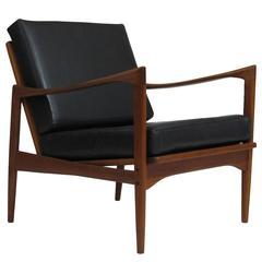 Ib Kofod-Larsen Danish Teak Lounge Chair in Black Leather