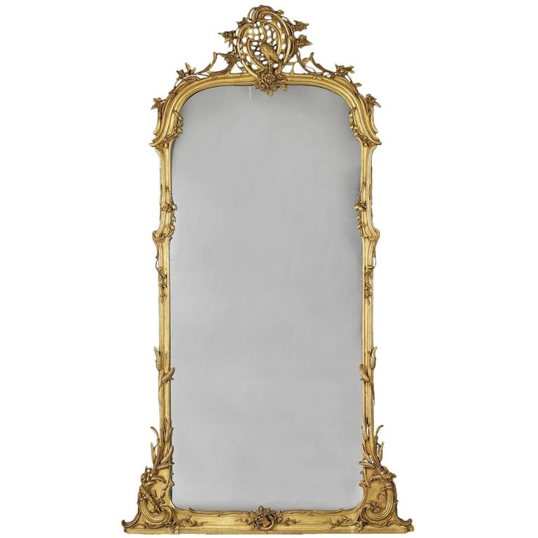 German Rococo Style Carved Giltwood Mirror, circa 1860