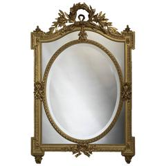 French 19th Century Louis XVI Style Carved Giltwood Mirror