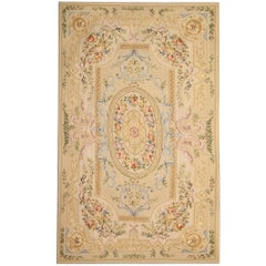 Luxury Beige Rug, Floral Rug in the Style of Aubusson Rugs Carpet Flat-Weave Rug