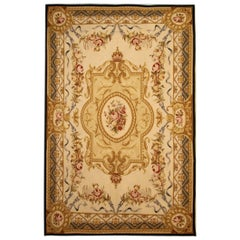 Handmade Beige Aubusson Style Rugs, Floral Patterned Carpet Flat-Weave Cream Rug