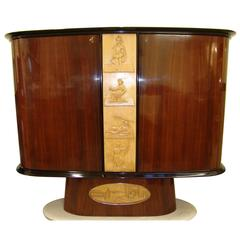 1940s Bar Cabinet Attributed to Osvaldo Borsani Design