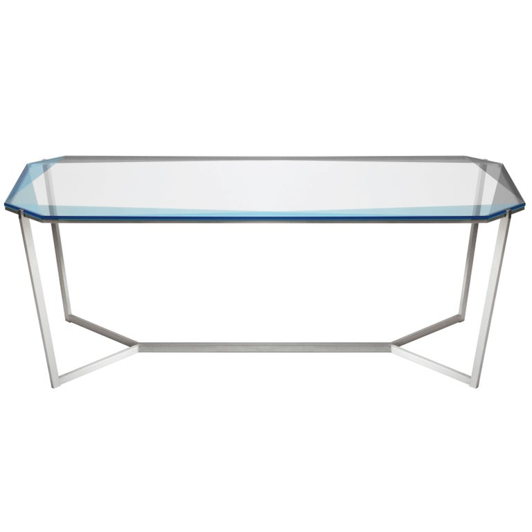 Gem Rectangular Dining Table/ Blue Glass with Stainless Steel Base by Debra Folz For Sale
