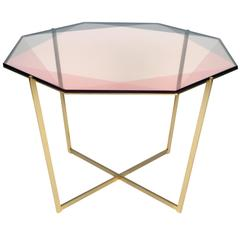 Gem Octagonal Dining Table / Pink, Brass