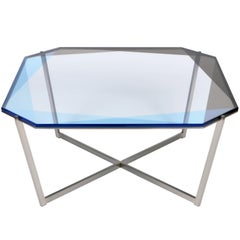 Gem Square Coffee Table / Blue, Nickel