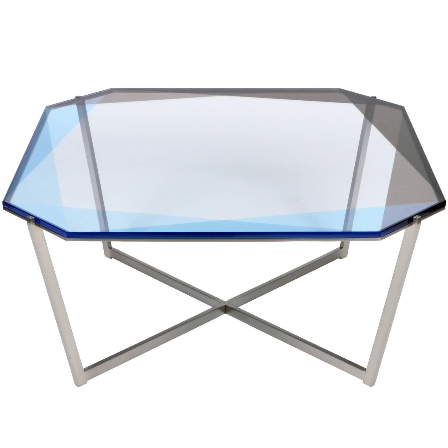 Gem Square Coffee Table Blue Nickel For Sale at 1stdibs