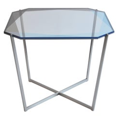 Gem Square Dining Table / Blue, Nickel