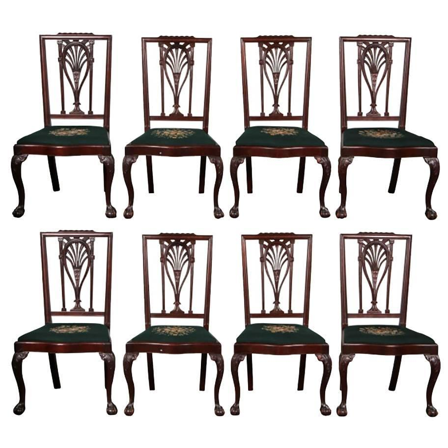 Set of eight philadelphia racket back chippendale antique for Z furniture philadelphia
