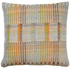 Indian Hand Woven Pillow. Orange. Green. Brown. Light Blue. Wool and Silk.