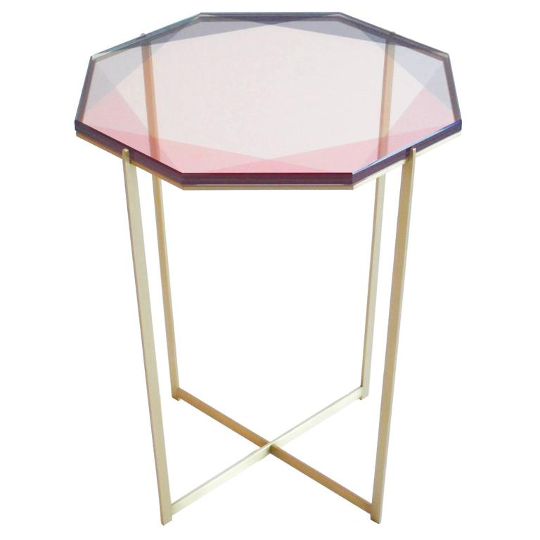 Gem Side Table / Pink, Brass For Sale At 1stdibs