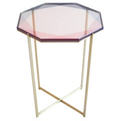 Gem Side Table / Pink, Brass / In Stock