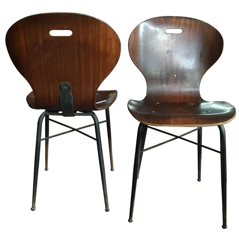 Carlo Ratti Molded Plywood Dining Chairs, 16 available