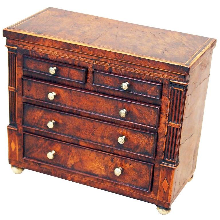 Antique Regency Burr Oak Miniature Chest