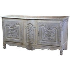 18th Century French Louis XV Carved Painted Two-Door Buffet with Faux Marble-Top