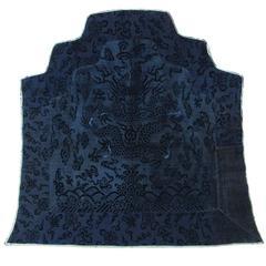 Rare 18th Century Blue Chinese Silk Velvet Dragon Throne Back