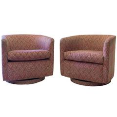 Pair of Milo Baughman Barrel Back Swivel Chairs
