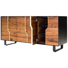 Modern Credenza/Console/Media Cabinet with adjustable Shelving (maple or walnut)
