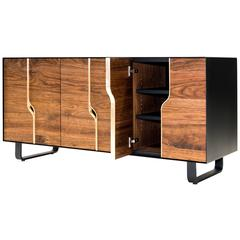 Slip Console Walnut, Brass and Powder-Coated Steel Credenza