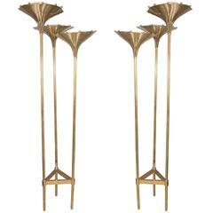 Pair of Brass Foliate Form Tripod Floor Lamps