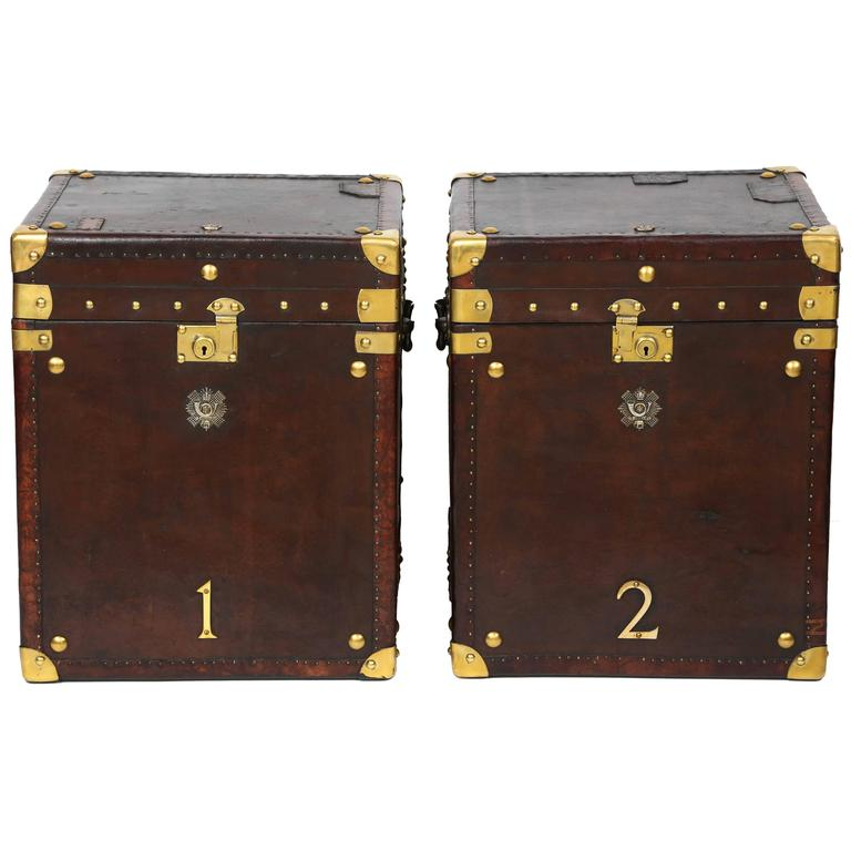 Exceptional Pair Of Vintage Leather Storage Trunks With Brass Trim For Sale