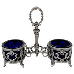 Antique French Sterling Silver and Cobalt Glass Open Salt Caddy, Napoleon III