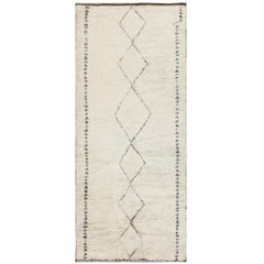 """Ivory and Black Vintage Moroccan Beni Ourain Shag Rug. Size: 6' 4"""" x 13' 7"""""""