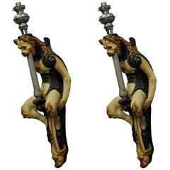 Pair of Italian Gargoile Wall Appliques with Torches