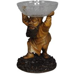 Great Carving of a Dwarf with Glass Bowl, 19th Century