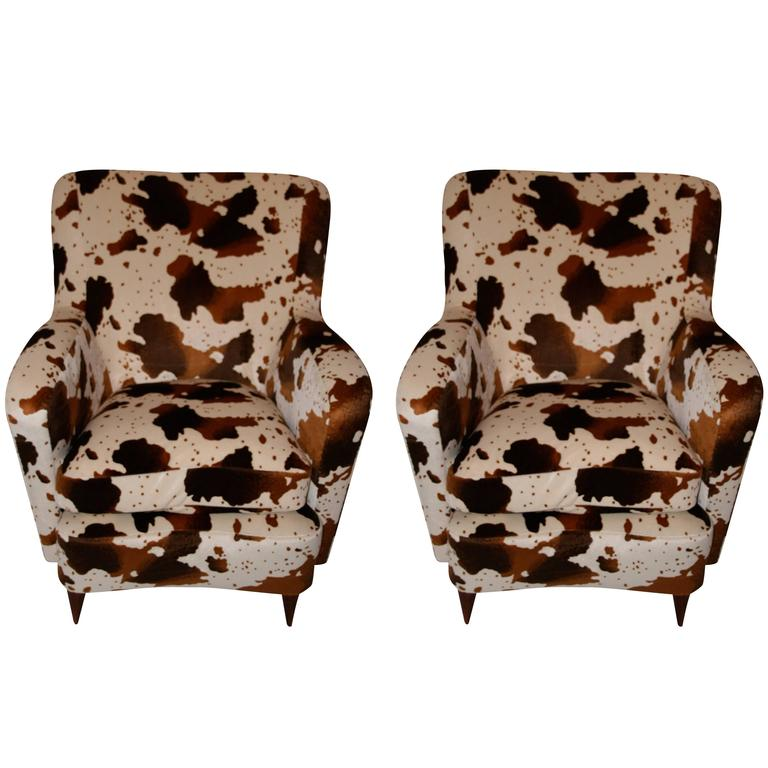 """Pair of Chairs, Fabric Imitation """"Foal"""", circa 1960, France"""