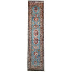 Carpet Runners, Kazak Blue Runner Rugs, Large Rugs, Carpet from Afghanistan