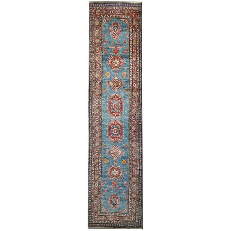 Carpet Runners, Kazak Blue Runner Rugs, Large Rugs, Carpet from Afghanistan For Sale