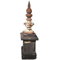 Carved Yorkstone and Cast Iron Lamp Post Fountain
