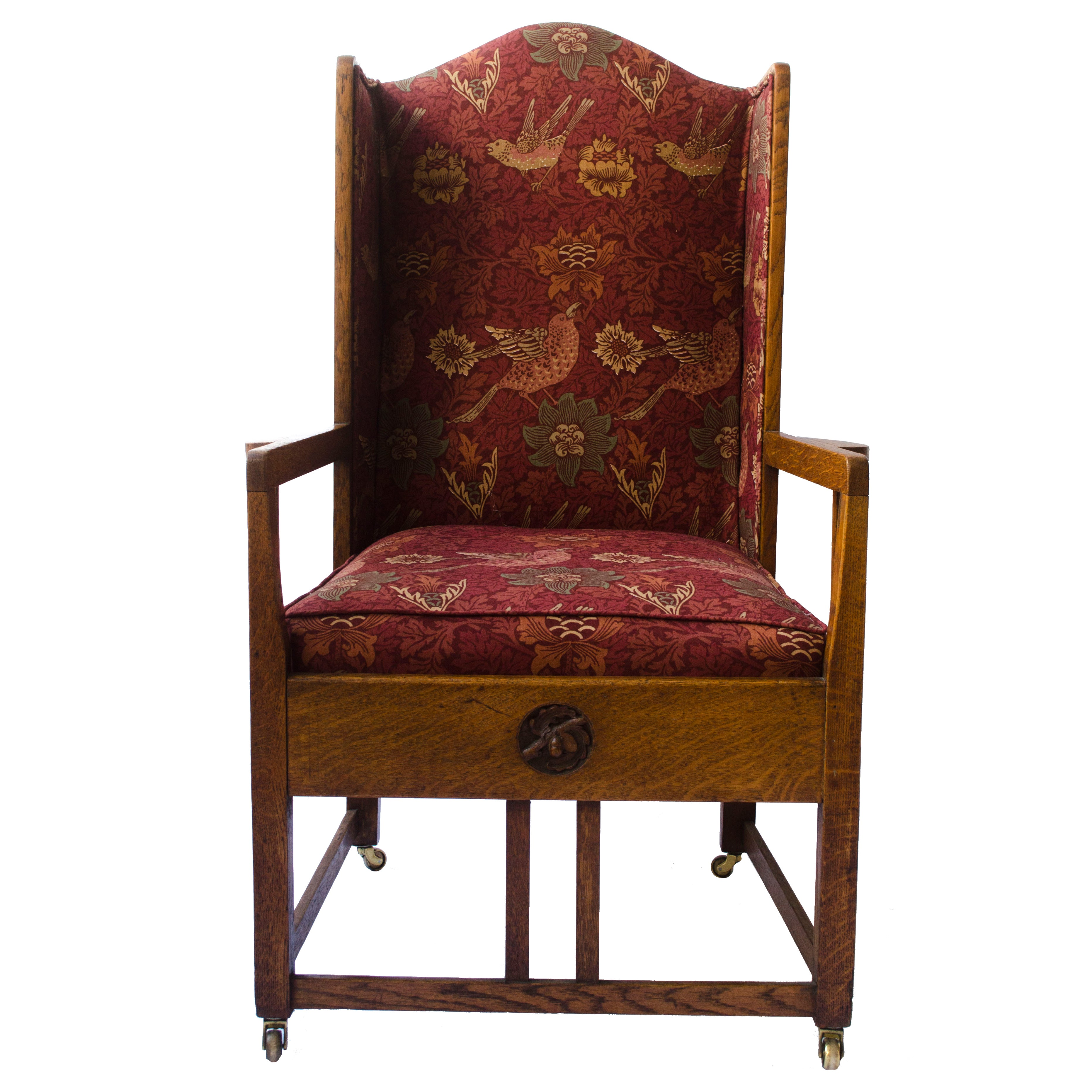 GM Ellwood Attributed Arts and Crafts Armchair with Morris and Co Bird Fabric