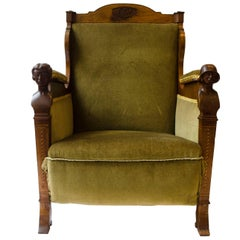 Arts and Crafts Walnut Armchair with Carved Female Heads and High Heel Shoes