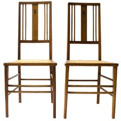 Ambrose Heal A Rare Pair of Arts & Crafts Side Chairs with Ebony & Pewter Inlays