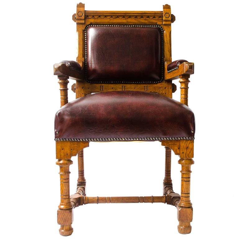 Gothic Revival Oak Armchair Designed by John Pollard Seddon For Seddon and Co.
