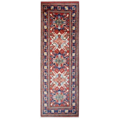 Hand woven Carpet Red Traditional rugs, Kazak Stair Runner, Afghan Runner Rugs