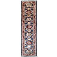 Navy Blue Carpet Runners, Kazak Runner Rugs Oriental Large Rugs, Carpet