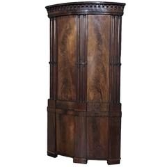 Rare English Regency Period Grand Mahogany Corner Cabinet, London, Circa 1825.