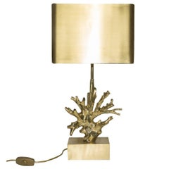 Gilded Bronze coral shape lamp, Maison Charles Paris, 1960s, Made in France