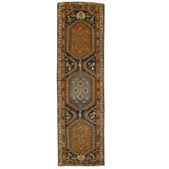Antique Heriz Northwest Persian Runner, Handmade Rug, Navy, Light Blue, Saffron